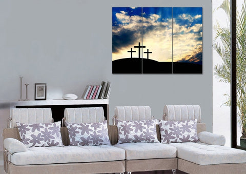Image of Christian Cross at Sunrise Sunset Wall Art #36 Canvas
