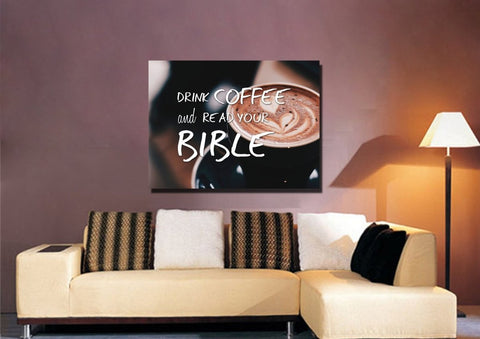 'Drink Coffee and Read your Bible' Wall Art Canvas Print