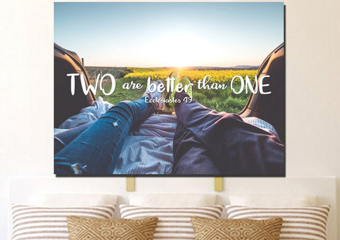 Image of Ecclesiastes 4:9 Two are better than One Bible Verse Canvas Wall Art