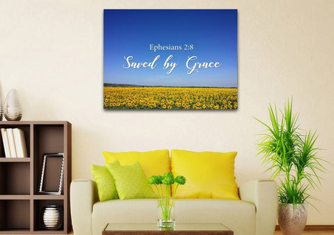 Ephesians 2:8 Saved by Grace Bible Verse Wall Art Canvas