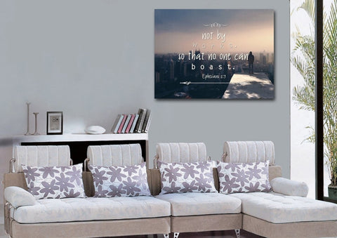 Ephesians 2:9 Wall Art Canvas Print