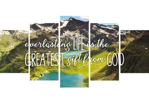 Everlasting Life is the Greatest Gift from God Christian Quotes Wall Art Canvas