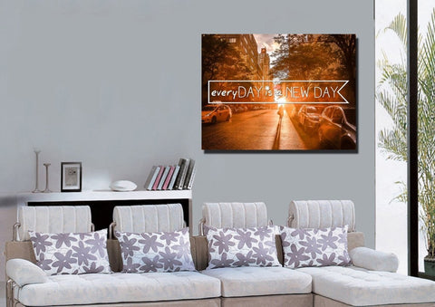 Everyday is a New Day Christian Quotes Wall Art Canvas Print