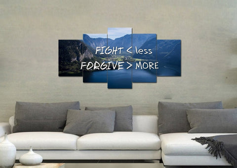 Image of Fight Less Forgive More Christian Quotes Wall Art Canvas Print