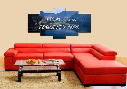 Fight Less Forgive More Christian Quotes Wall Art Canvas Print