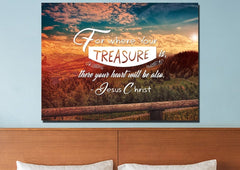 For Where your Treasure is There your Heart is Wall Art Canvas Print