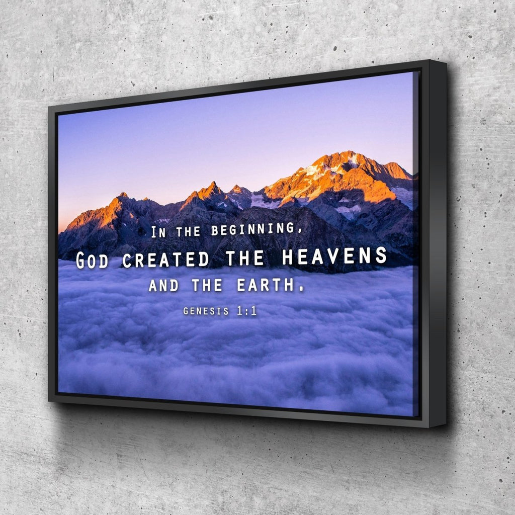 Genesis 1 1 God Created The Heavens And Earth Wall Art Canvas Print