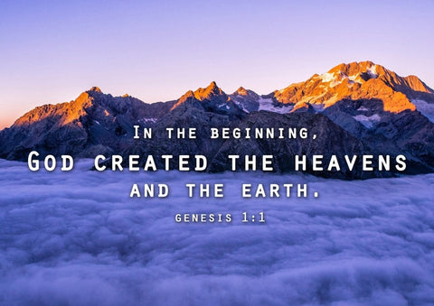 Image of Genesis 1:1 In the beginning, God created the Heavens and Earth Bible Verse Wall Art Canvas