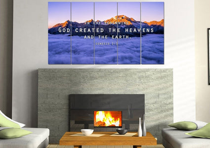 Genesis 1:1 In the beginning, God created the Heavens and Earth Bible Verse Wall Art Canvas
