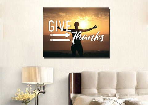 Give Thanks to God Christian Quotes Wall Art Canvas