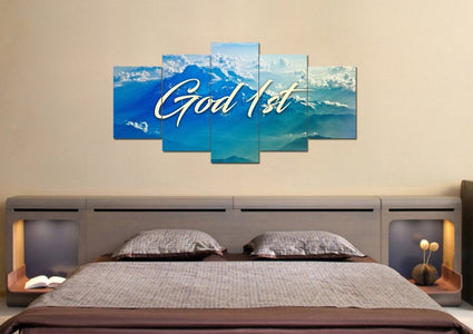 God 1st Christian Quotes Wall Art Canvas