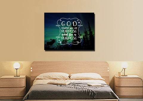 God Created you on Purpose and for a Purpose Wall Art Canvas Print