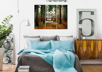 God has a plan- Trust it, Live it, Enjoy It Christian Quotes Wall Art Canvas