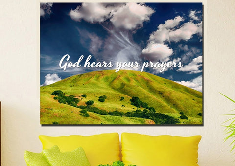 Image of God hears your Prayers Wall Art Canvas Print