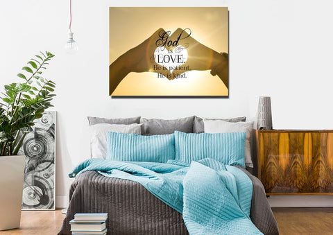 God is Love he is Patient he is Kind Christian Quotes Wall Art Canvas