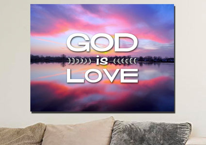 God is Love Christian Quotes Wall Art Canvas
