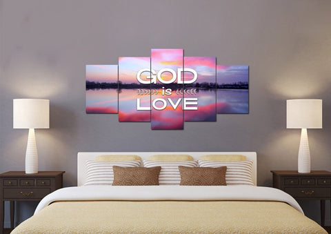 Image of God is Love Christian Quotes Wall Art Canvas