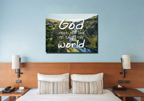 God sent his Son to save the world Wall Art Canvas Print