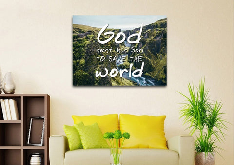 Image of God sent his Son to save the world Wall Art Canvas Print