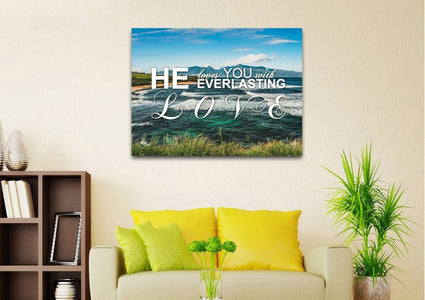 He Loves you with Everlasting Love Christian Quotes Wall Art Canvas