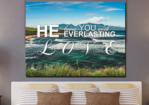 Image of He Loves you with Everlasting Love Christian Quotes Wall Art Canvas