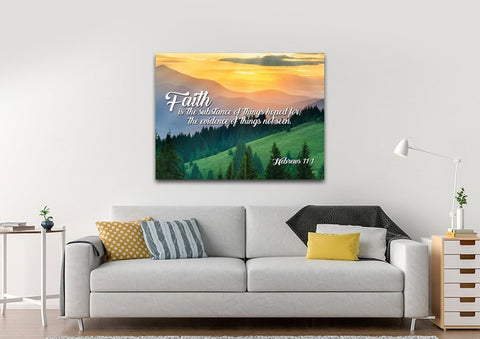 Image of Hebrews 11:1 KJV Faith is the Substance of Things Bible Verse Wall Art Canvas