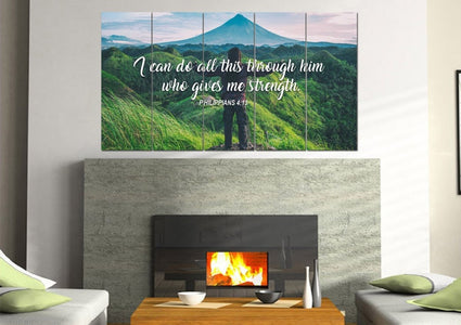 Philippians 4:13 I can do all this Through him who Gives me Strength Bible Verse Canvas Wall Art