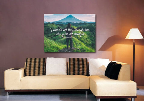 Image of Philippians 4:13 I can do all this Through him who Gives me Strength Bible Verse Canvas Wall Art