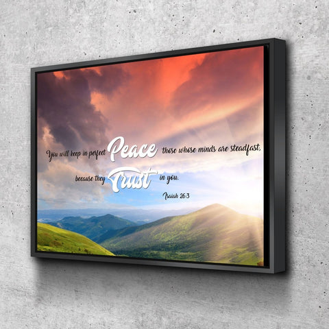 Isaiah 26:3 NIV Keep in Perfect Peace Bible Verse Canvas Wall Art