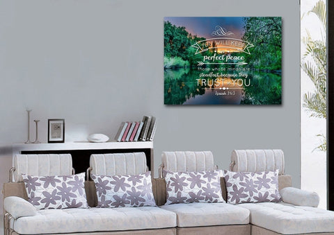 Image of Isaiah 26:3 Wall Art Canvas Print