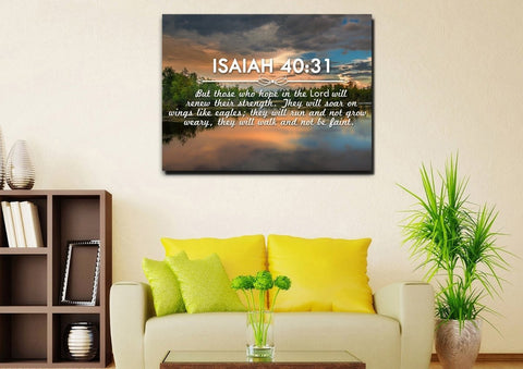 Isaiah 40:31 But those who Hope in the Lord will Renew their Strength Bible Verse Canvas Wall Art