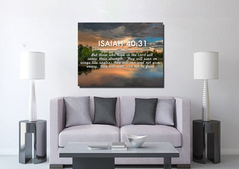 Image of Isaiah 40:31 But those who Hope in the Lord will Renew their Strength Bible Verse Canvas Wall Art