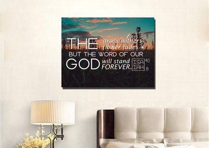 Isaiah 40:8 Word of God Will Stand Forever Canvas Wall Art Print