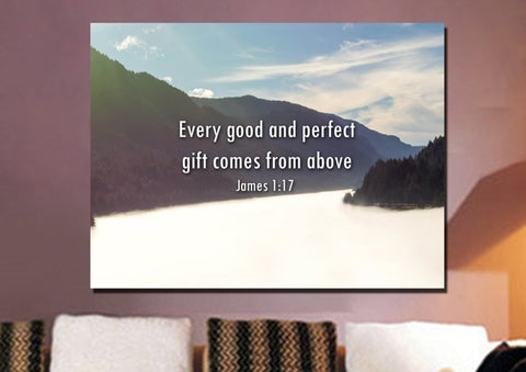 Image of James 1:17 'Every Good & Perfect Gift comes from Above' Wall Art Canvas Print