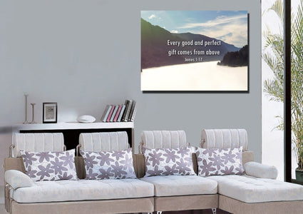 James 1:17 'Every Good & Perfect Gift comes from Above' Wall Art Canvas Print