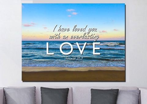 Image of Jeremiah 31:3 'Loved you with Everlasting Love' Bible Verse Wall Art Canvas