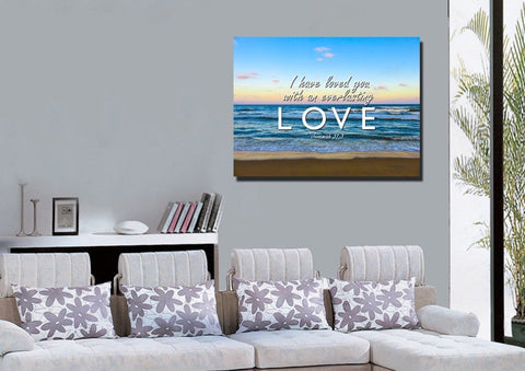 Jeremiah 31:3 'Loved you with Everlasting Love' Bible Verse Wall Art Canvas