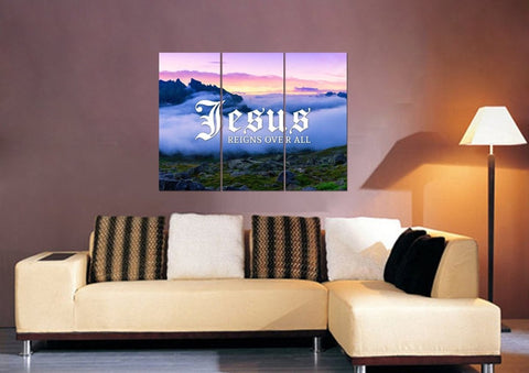 Jesus reigns over all Christian Quote Wall Art Canvas