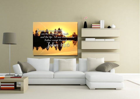 Image of John 14:6 I am the Way and the Truth and the Life Bible Verse Canvas Wall Art