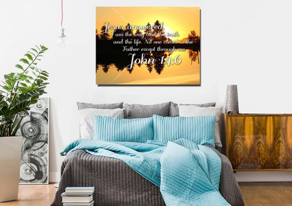 John 14:6 I am the Way and the Truth and the Life Bible Verse Canvas Wall Art