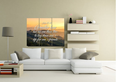 John 15:13 Greater Love has no One than this to Lay down one's Life for One's Friends Bible Verse Canvas Wall Art