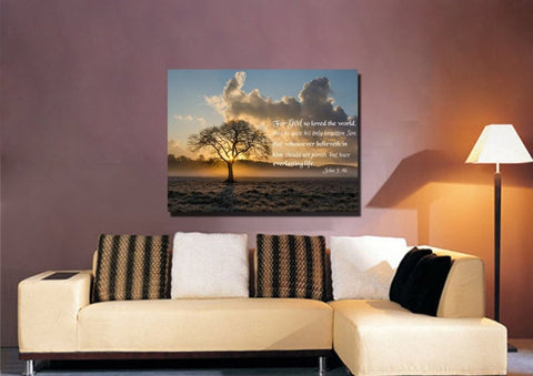 Image of John 3:16 KJV #11 Bible Verse Canvas Wall Art