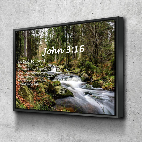Image of John 3:16 KJV #14 Bible Verse Canvas Wall Art