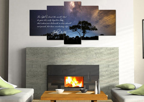 Image of John 3:16 KJV #16 Bible Verse Canvas Wall Art