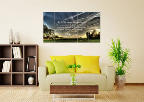 John 3:16 KJV #17 Bible Verse Canvas Wall Art