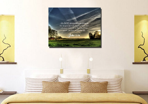 Image of John 3:16 KJV #17 Bible Verse Canvas Wall Art