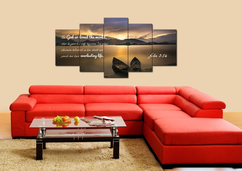 Image of John 3:16 KJV #22 Bible Verse Canvas Wall Art