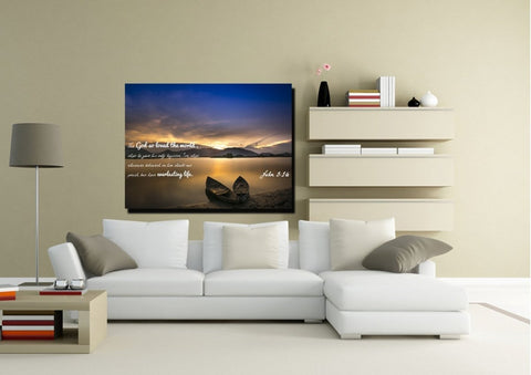 John 3:16 KJV #22 Bible Verse Canvas Wall Art