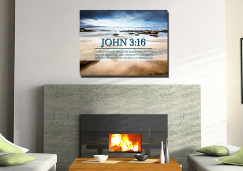 Image of John 3:16 KJV #29 Bible Verse Canvas Wall Art