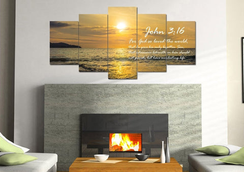Image of John 3:16 KJV #3 Bible Verse Canvas Wall Art